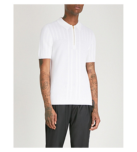 REISS Reddington cotton-blend polo shirt (Ecru