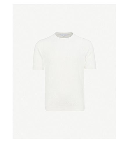 REISS Roger cable-knit cotton T-shirt (Ecru