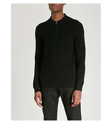 REISS Ronaldson cotton-blend polo shirt (Black
