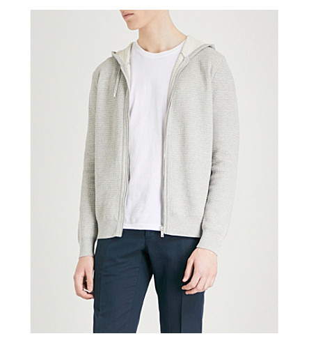 REISS Shooter knitted hoody (Grey