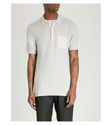 REISS Albion knitted cotton polo shirt (Soft+blue