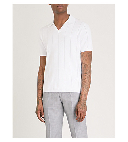 REISS Dummont knitted polo (White