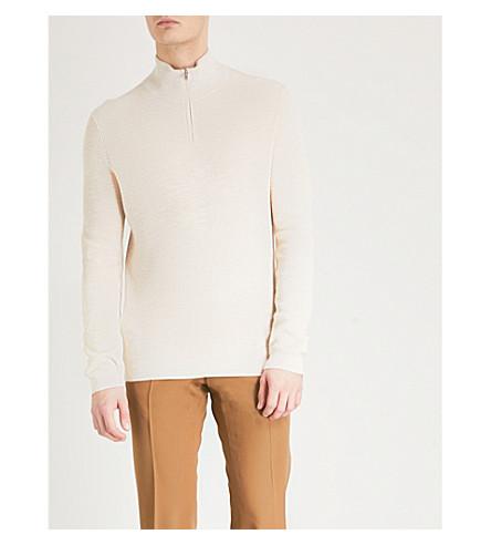 REISS Fielder cotton-blend jumper (Oatmeal