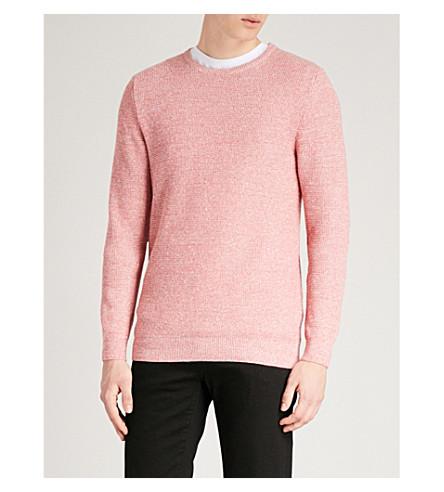 REISS Rojo en mezcla y algodón de Rocco lino jersey 6q4S68r