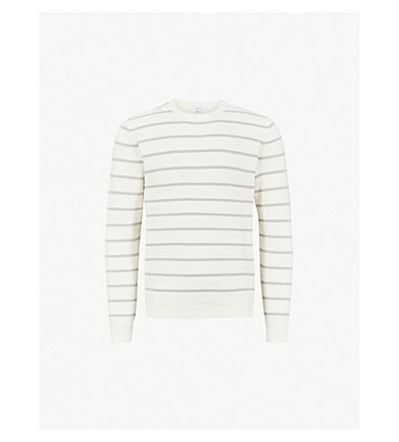 REISS Samson cotton-blend jumper (Ecru/soft+grey