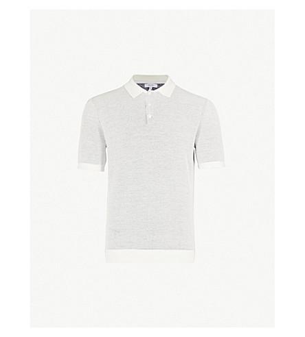 REISS Sanderson waffle-knit cotton polo shirt (Navy