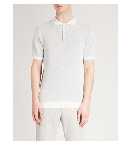 REISS Sanderson waffle-knit cotton polo shirt (Navy