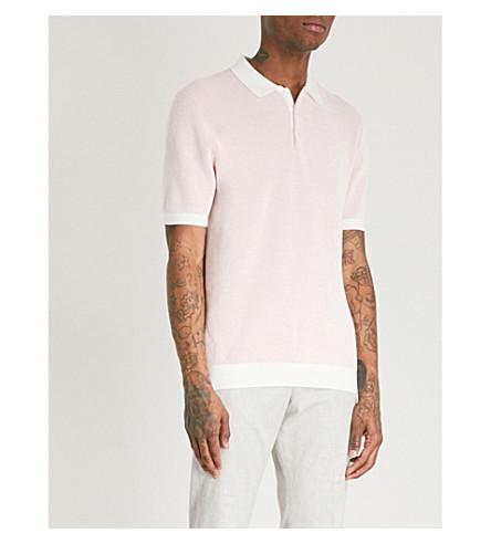 REISS polo Sanderson punto suave de algodón color gofre de de rosa wwrHqZdx