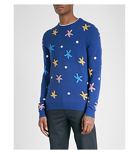 REISS Sandstorm embroidered wool and alpaca-blend jumper (Cobalt