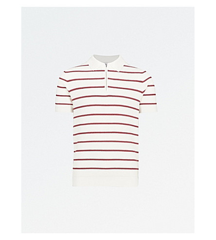 REISS Stripe knit polo shirt (Red