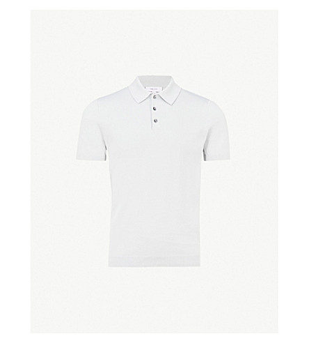 REISS Varsity knitted-cotton polo shirt (Ice+grey