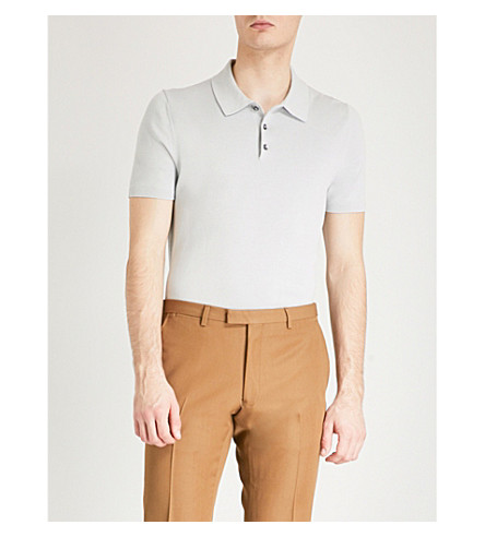 REISS Varsity knitted-cotton polo shirt Ice grey Outlet Reliable Quality Free Shipping For Sale IgnBL
