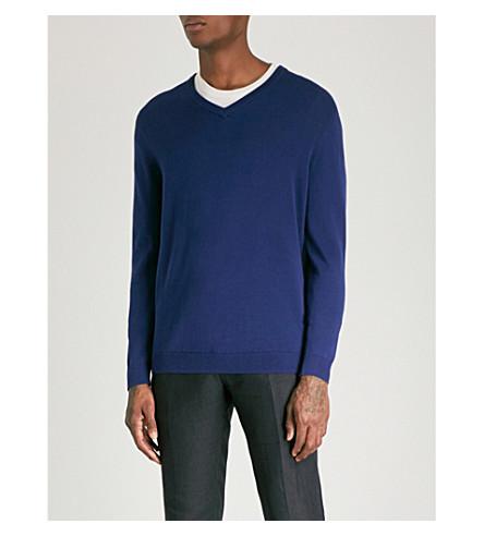 REISS Vernon V-neck cotton jumper (Cobalt