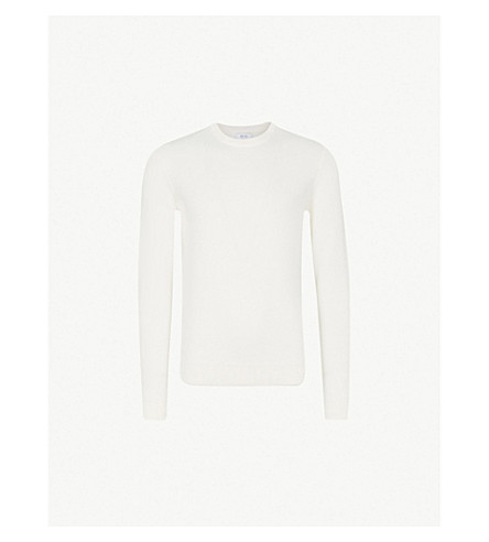 REISS Zagger honeycomb-knit wool-blend jumper (Ecru