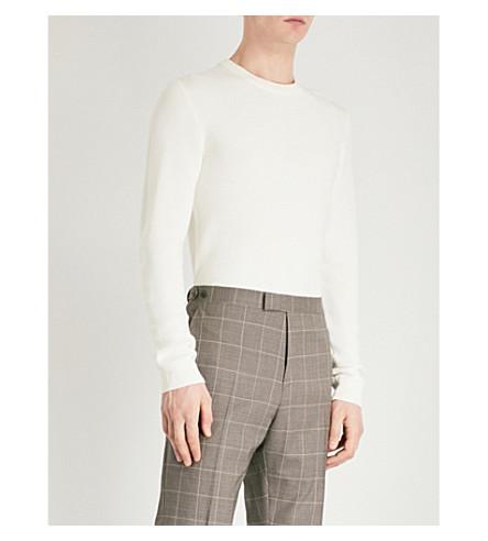 REISS Zagger honeycomb-knit wool-blend jumper (Ecru