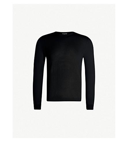 REISS Wessex crewneck wool-knit jumper (Black