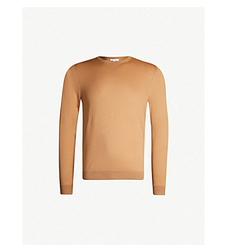 REISS Wessex crewneck wool-knit sweater (Camel