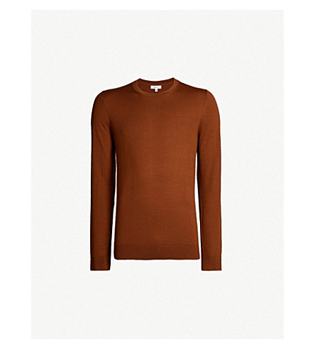 REISS Wessex crewneck wool-knit sweater (Copper