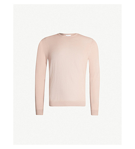 REISS Wessex crewneck wool-knit sweater (Pink