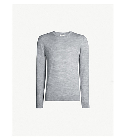 REISS Wessex crewneck wool-knit sweater (Soft grey