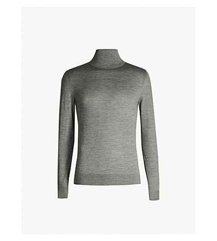 REISS Olive roll-neck wool sweater (Mid grey melang