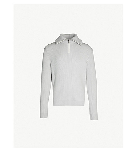 REISS Ingleston funnel-neck knitted sweater (Ice grey