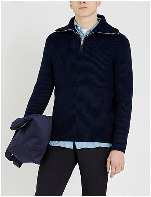 b7c890a3183a REISS - Jonathan funnel-neck zip-through jersey jumper