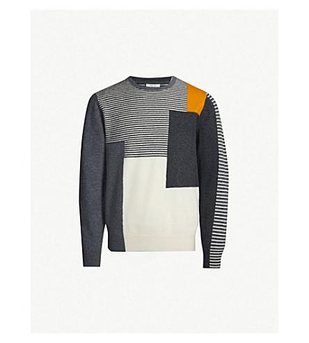 REISS Penfield stripe-panelled wool sweater (Grey