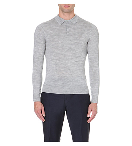 REISS Boulter wool polo shirt (Grey