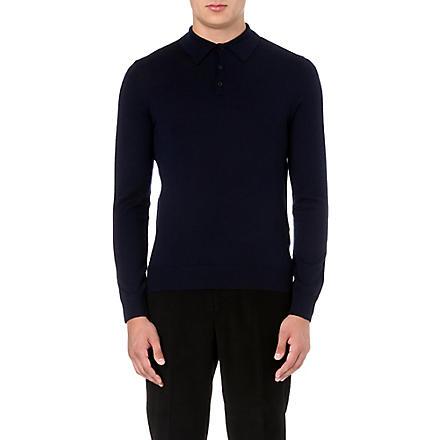 REISS Boulter wool polo shirt (Navy