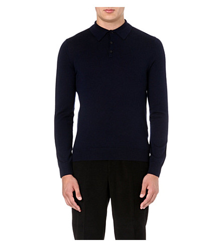 REISS Boulter wool polo shirt (Navy