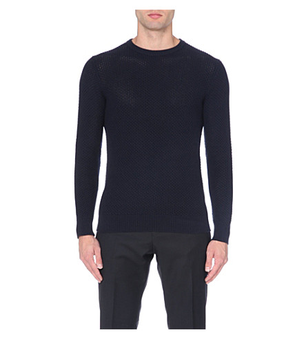 REISS Aviator honeycomb weave jumper (Indigo