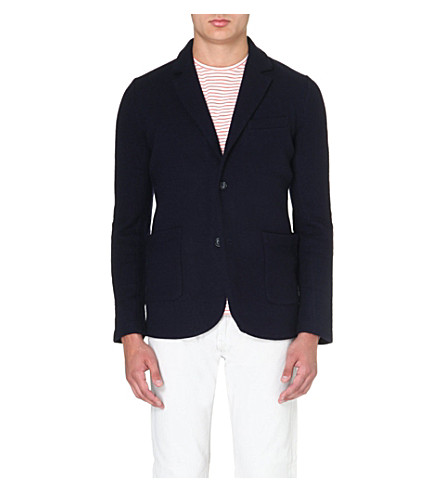 REISS Boiled wool blazer (Indigo