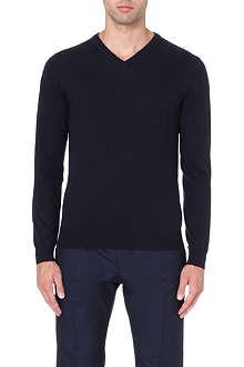 REISS Alto merino wool v-neck jumper