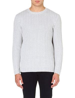 REISS Peak contrast weave jumper