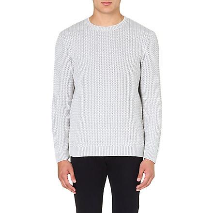 REISS Peak contrast weave jumper (Grey