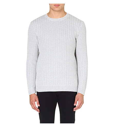 REISS Peak contrast weave jumper (Grey