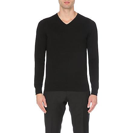 REISS Jude lightweight v-neck jumper (Black/white
