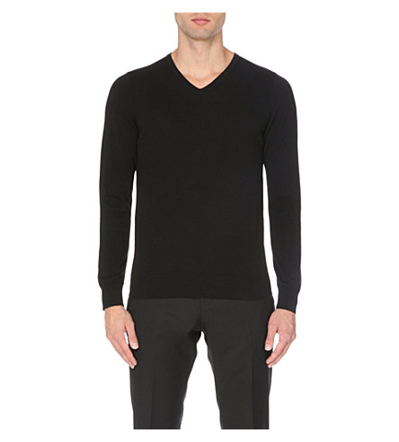 REISS Jude lightweight v-neck jumper (Black/white