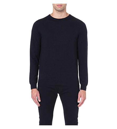 REISS Merino wool crew-neck jumper (Navy