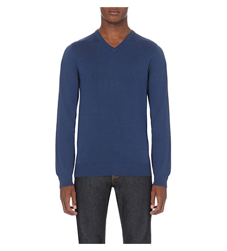 REISS Emporer v-neck wool jumper (Airforce+blue