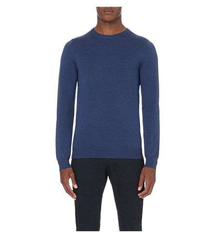 REISS Hart crew-neck wool jumper (Airforce+blue