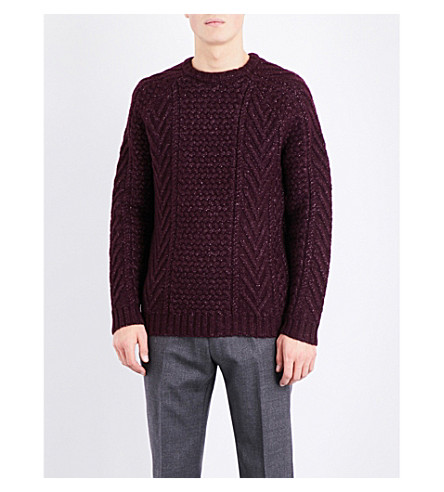 REISS Star wool-blend knitted jumper (Bordeaux