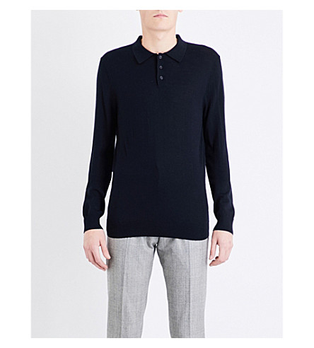 REISS Mansion merino wool polo jumper (Navy