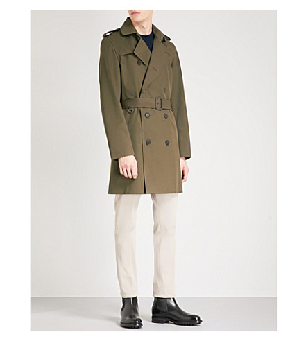 REISS Marston twill trench coat (Green