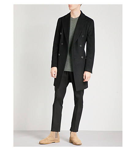 REISS Francisco wool and cashmere-blend coat (Black