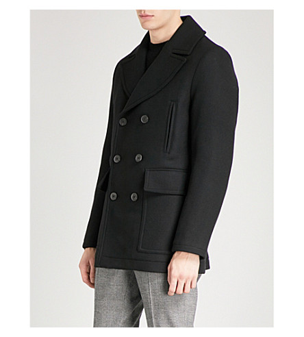 REISS Soldier double-breasted wool-blend peacoat (Black