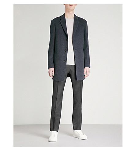 REISS Zen brushed wool-blend overcoat (Indigo