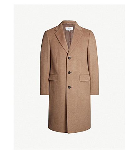 REISS Tildon top-stitched wool coat (Taupe