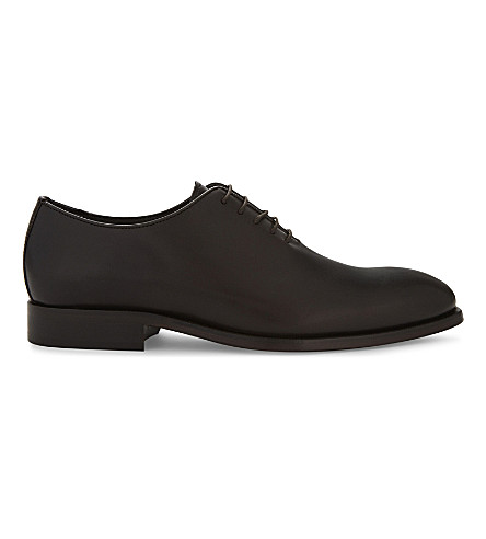 REISS Kolin leather Oxford shoes (Dark+brown